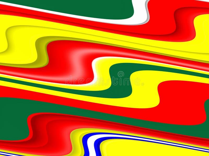 Геометрический жидкий голубой красный цвет grren желтая предпосылка Волны как формы, абстрактная предпосылка бесплатная иллюстрация