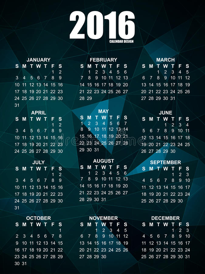 Геометрический календарь шаблона дизайна 2016 векторов бесплатная иллюстрация