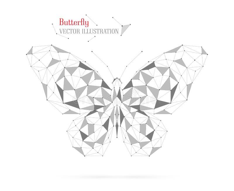 Геометрический многоугольник бабочки с треугольниками, кругами и линиями иллюстрация штока