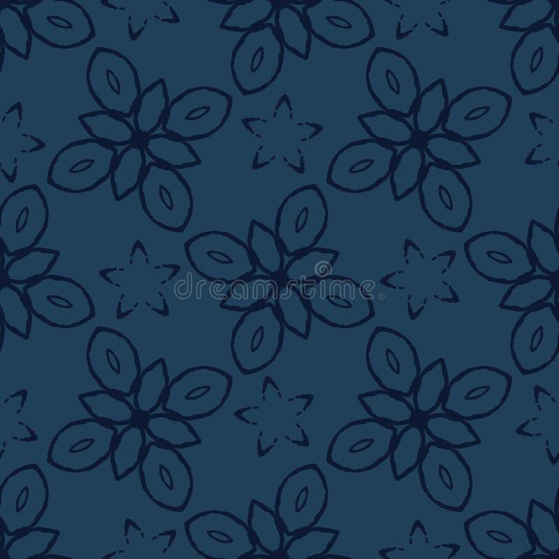 Геометрический мотив цветка увял картина вектора стиля джинсовой ткани безшовная иллюстрация вектора