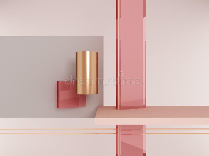 Геометрический пинк и золото форм стоковое изображение