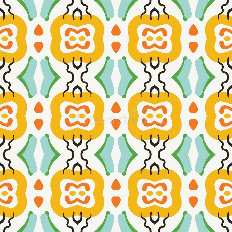 Геометрический племенной квадрат формирует безшовную картину На всем предпосылка вектора печати Стиль моды лета африканский Ультр иллюстрация вектора