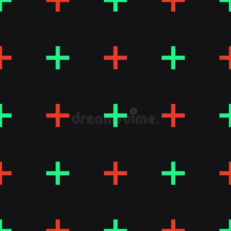 Геометрический плюс знак Салатовые и красные положительные величины на черноте покрасьте вектор возможных вариантов картины разли иллюстрация штока