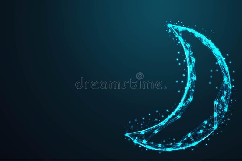 геометрический поли провода конспекта луны и ночного неба низкая, полигональная сетка рамки провода выглядит как созвездие на тем бесплатная иллюстрация