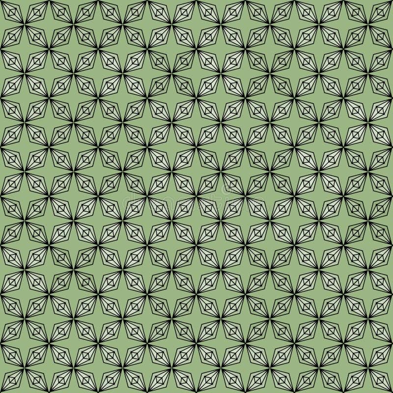 Геометрический ромбовый многоугольник бесшовный шаблон повторяется для текстильной и веб-фона с пастельно-зеленым цветом иллюстрация штока