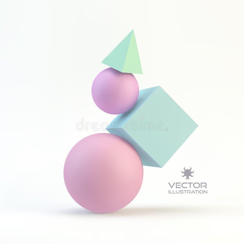 геометрический состав 3d Абстрактный вектор иллюстрация вектора
