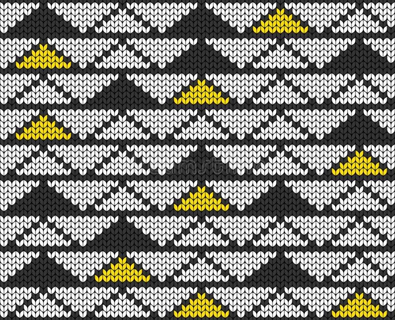 Геометрический фон треугольников Безшовная декоративная предпосылка Жаккард соткет Связанная картина для свитера, носков бесплатная иллюстрация
