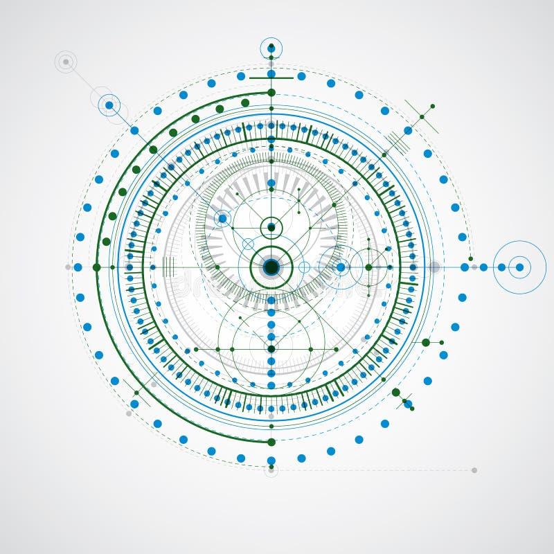 Геометрический чертеж вектора технологии, технические обои Abstra иллюстрация вектора