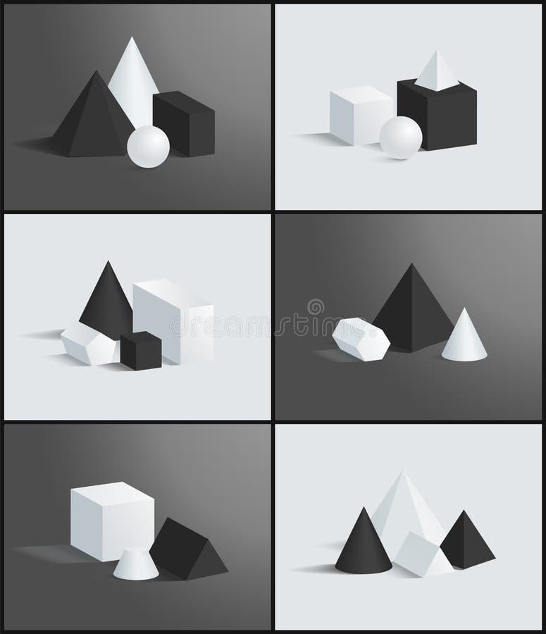 6 геометрических знамен, различные диаграммы вектора бесплатная иллюстрация