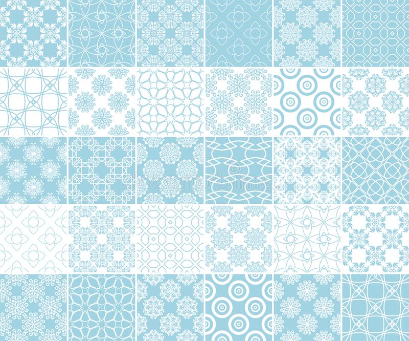 Геометрическое и флористическое собрание безшовных картин Голубые и белые предпосылки иллюстрация штока