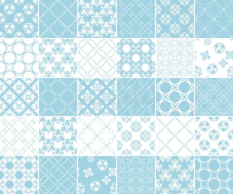 Геометрическое и флористическое собрание безшовных картин Голубые и белые предпосылки иллюстрация вектора