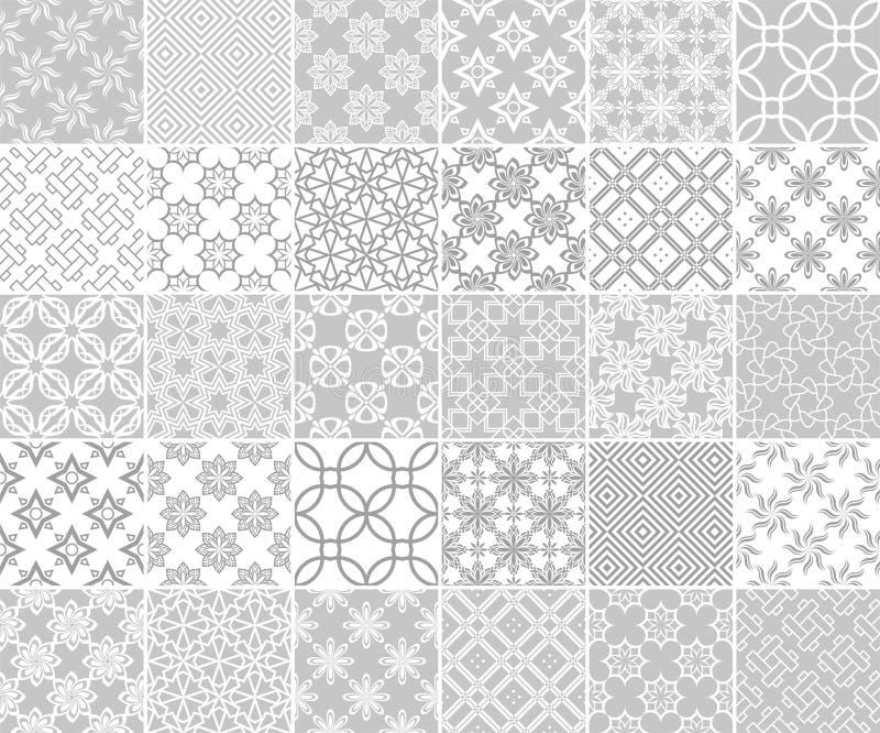 Геометрическое и флористическое собрание безшовных картин Серые и белые предпосылки иллюстрация штока