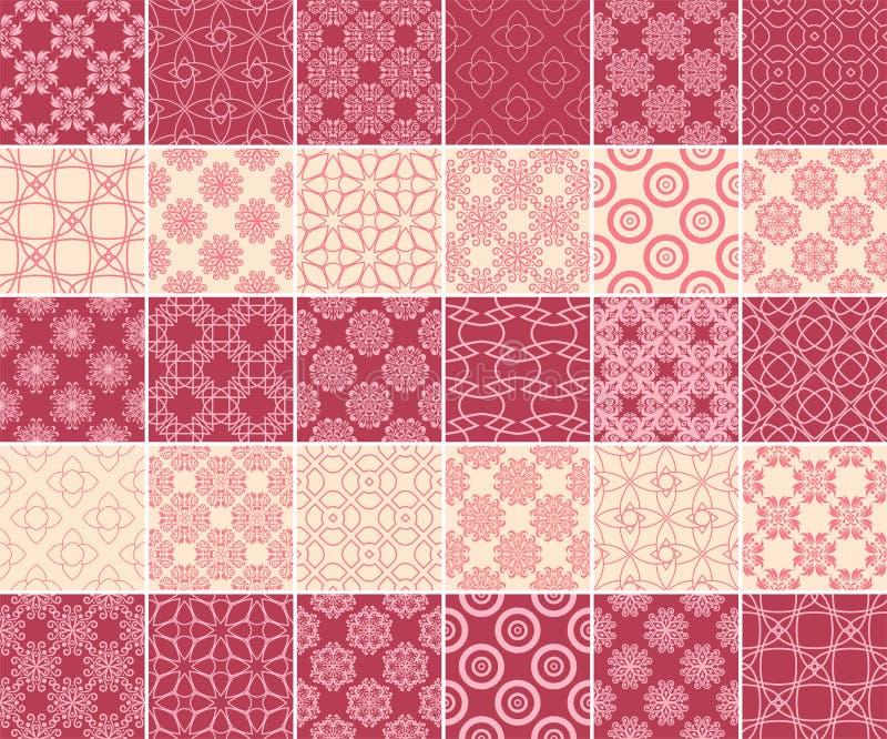 Геометрическое и флористическое собрание безшовных картин Предпосылки красного цвета и бежа вишни иллюстрация вектора