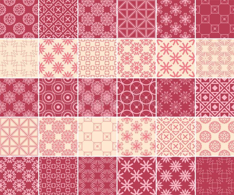 Геометрическое и флористическое собрание безшовных картин Предпосылки красного цвета и бежа вишни бесплатная иллюстрация