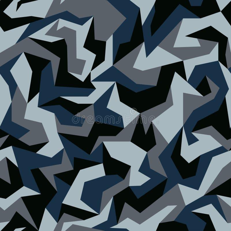 Геометрическое камуфлирование Городской стиль одежды, абстрактная предпосылка картины camo Синь, военно-морской флот и серые цвет иллюстрация штока