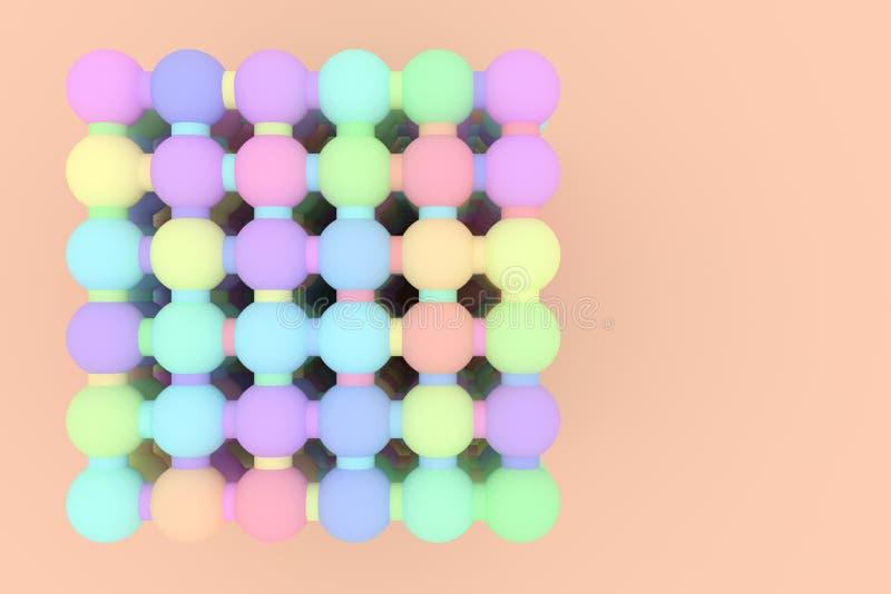 Геометрическое конспекта предпосылки виртуальное, concepture стиля молекулы блокировало сферу для дизайна, графического ресурса E иллюстрация штока