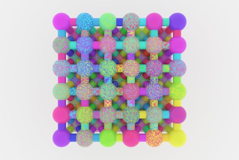 Геометрическое конспекта предпосылки виртуальное, concepture стиля молекулы блокировало сферу для дизайна, графического ресурса E иллюстрация вектора