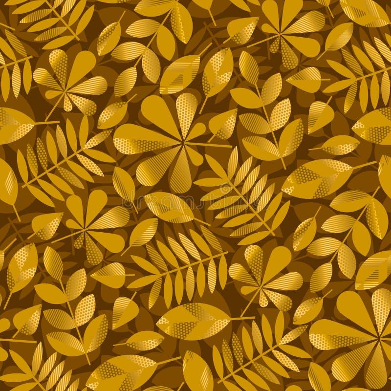 Геометрическое падение золота выходит иллюстрация вектора картины иллюстрация вектора