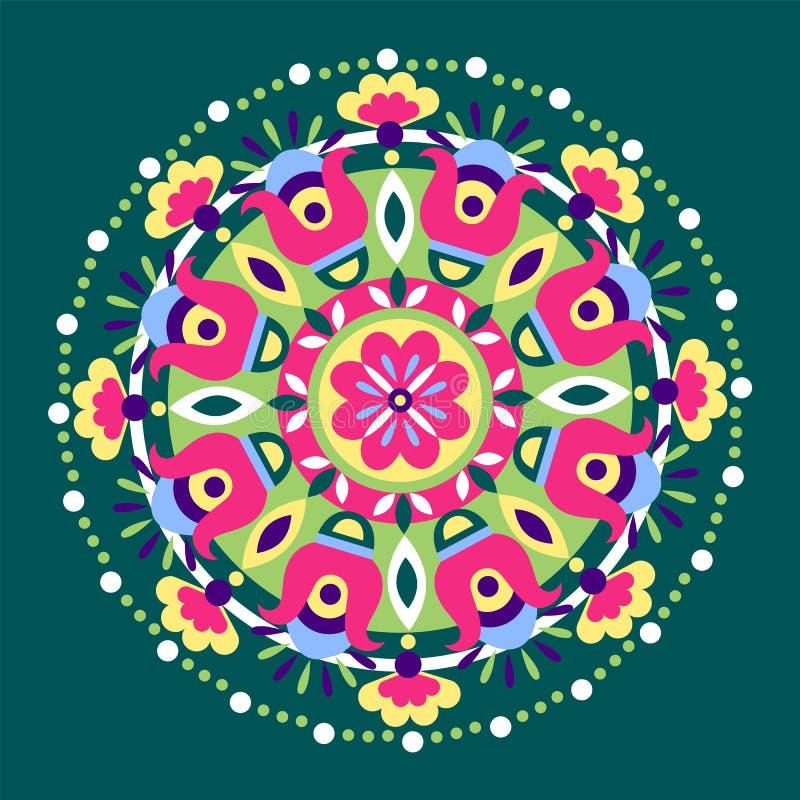 Геометрическое флористическое этническое украшение бесплатная иллюстрация