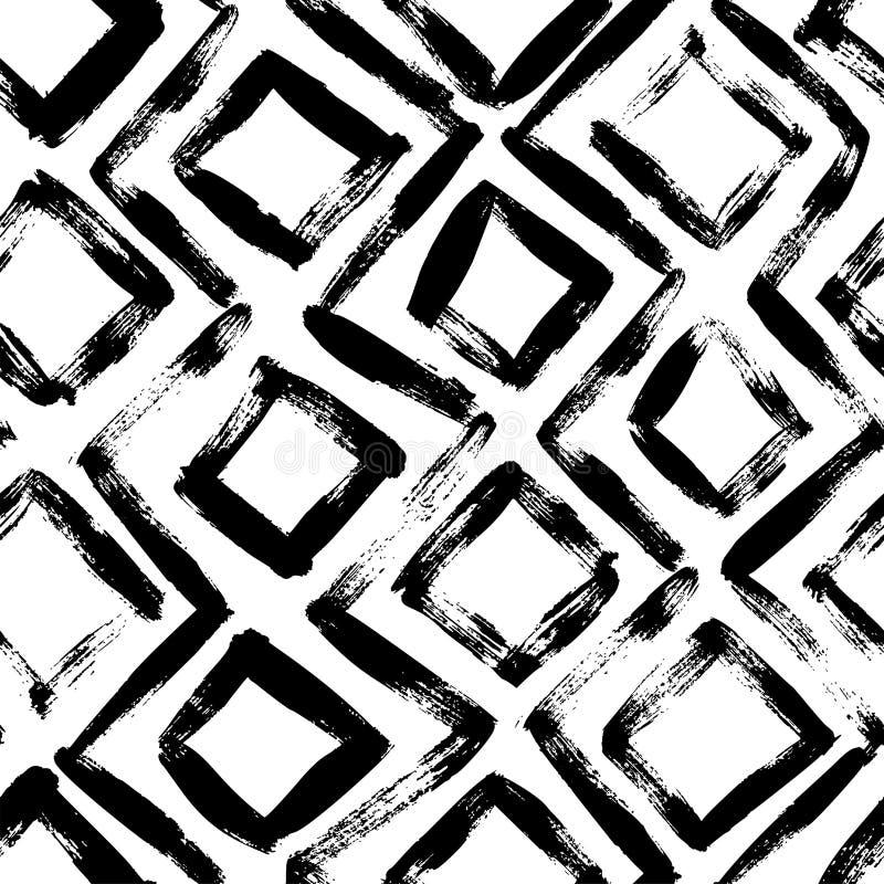 Геометрической картина нарисованная рукой безшовная Орнамент вектора с косоугольниками иллюстрация штока