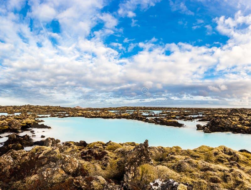 Геотермический бассейн в голубой лагуне, Исландии стоковое изображение rf