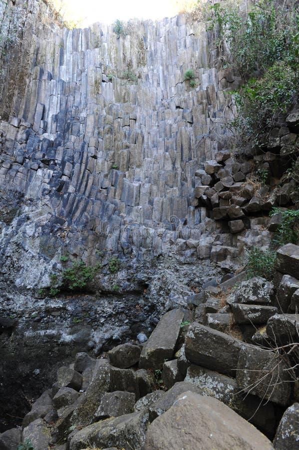 Геологохимическая характеристика водопада Лос Tercios около Suchitoto стоковое изображение