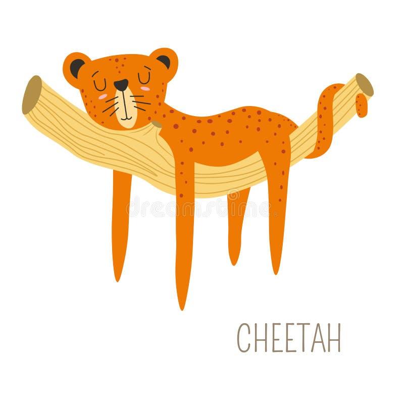 Гепард Африка создавая животное спать на дереве ветви иллюстрация вектора