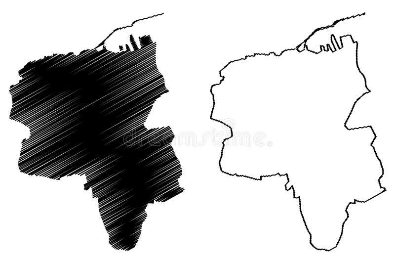 Гераклион Сити Греческая Республика, Греция, Хеллас, Карта вектора острова Крит, рисунок-карта города Ираклион, рисунок в стиле с иллюстрация штока