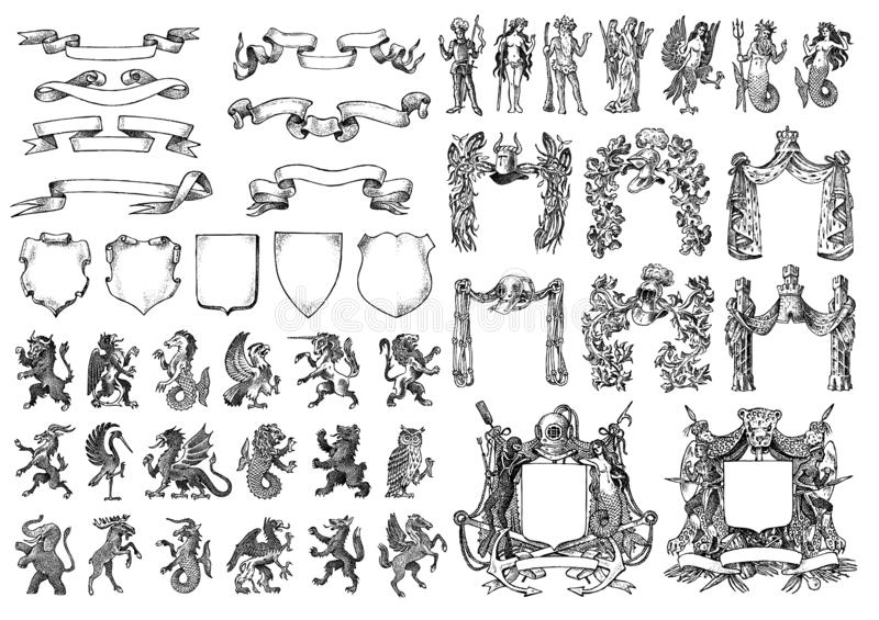 Геральдика в винтажном стиле Выгравированный герб с животными, птицами, мифическими тварями, рыбами, драконом, единорогом, львом иллюстрация штока