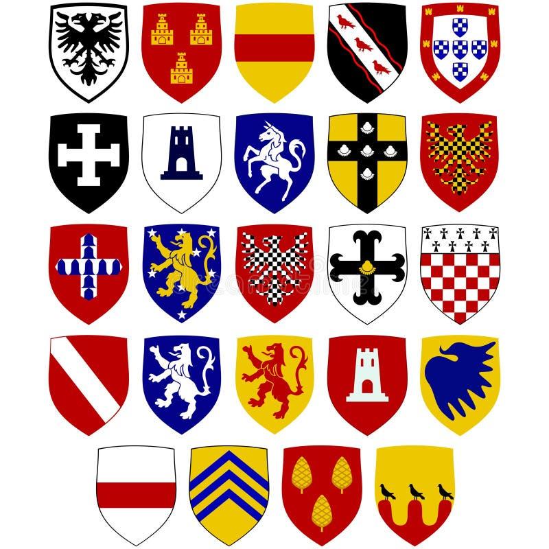 Гербы на экранах на Hospitaller knights иллюстрация штока