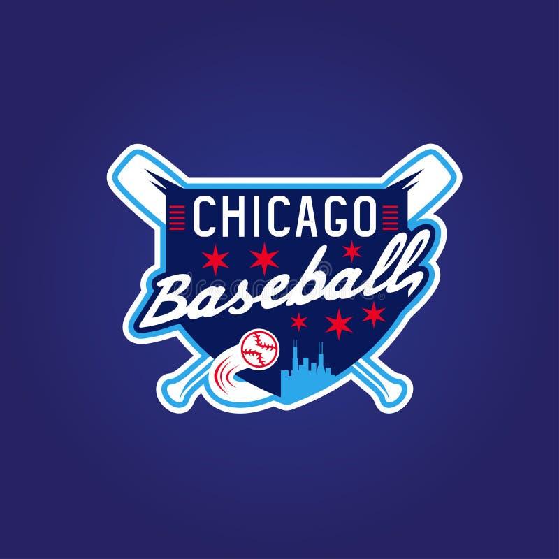Герб спорта бейсбола Чикаго винтажный, вектор иллюстрация вектора