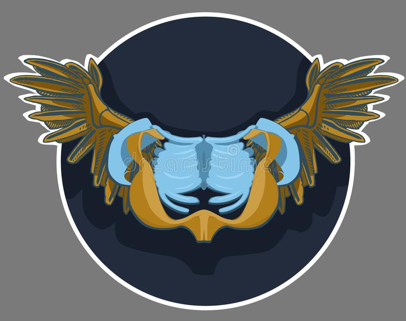 Герб с крылами Heraldic подшипник или экран simbol для персоны, семьи или корпорации бесплатная иллюстрация