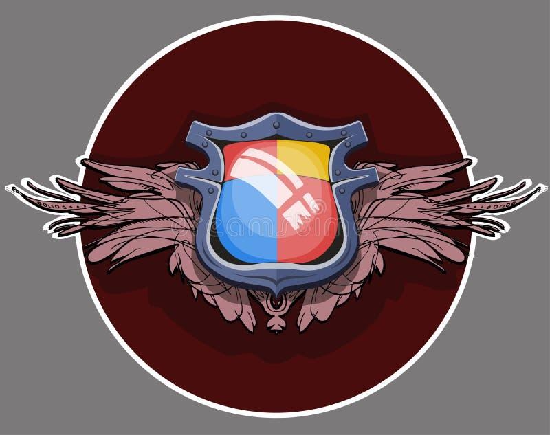 Герб с крылами Heraldic подшипник или экран simbol для персоны, семьи или корпорации иллюстрация вектора