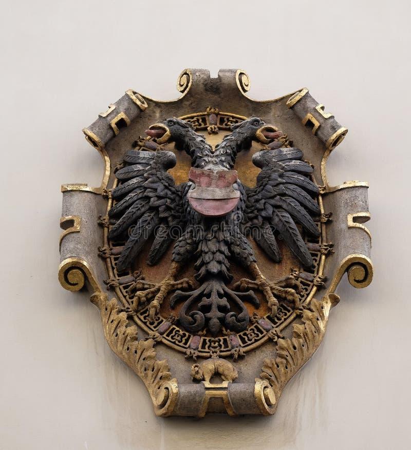 Герб фасада в центре Landhaus историческом перечислил как всемирное наследие ЮНЕСКО в Граце стоковое изображение rf
