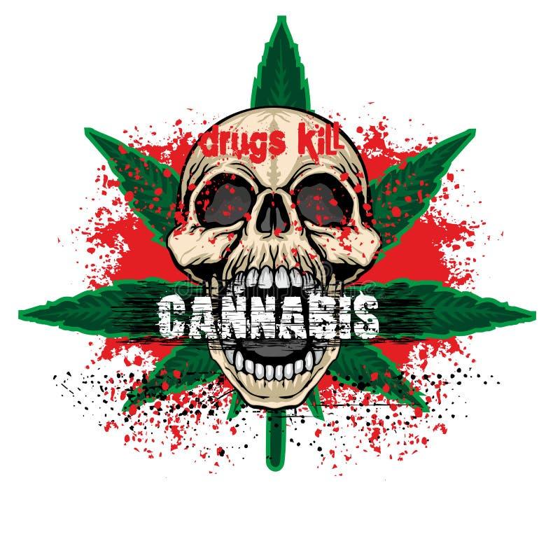 герб черепа grunge иллюстрация штока