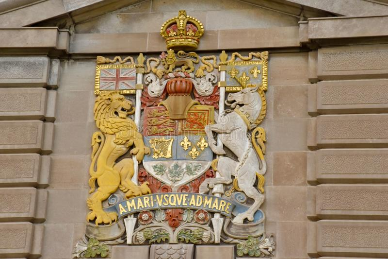 Герб ` s Канады официальный и национальный девиз стоковая фотография