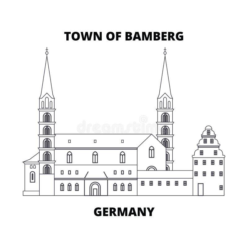 Германия, городок линии концепции Бамберга значка Германия, городок знака вектора Бамберга линейного, символа, иллюстрации иллюстрация штока