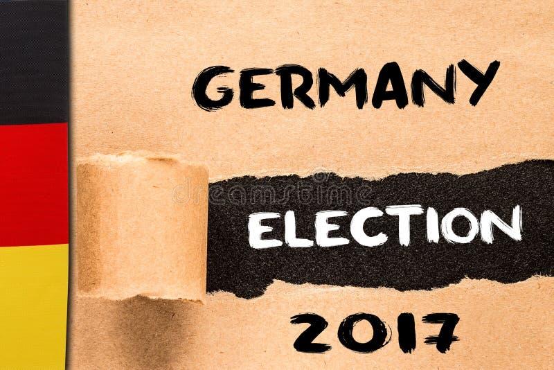 Германия, избрание 2017, надпись на сорванном бумажном листе стоковое фото
