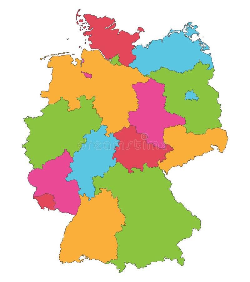 Германия - карта Германии - высокое детальное иллюстрация вектора
