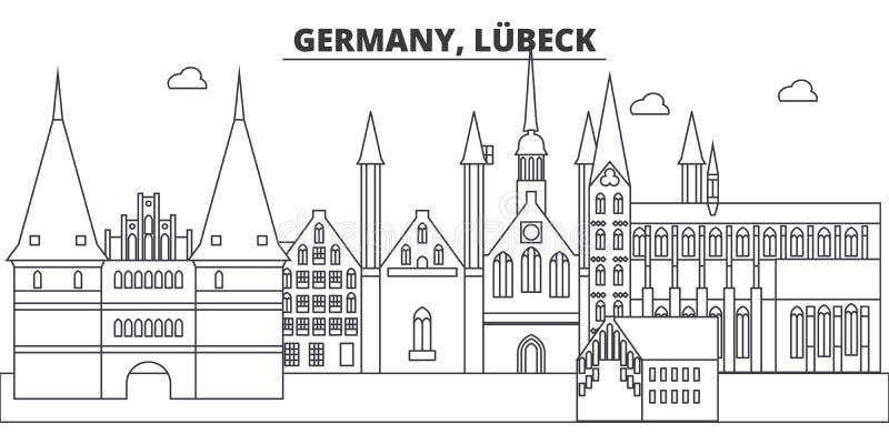 Германия, линия иллюстрация Любека вектора горизонта Германия, городской пейзаж с известными ориентир ориентирами, визирования Лю иллюстрация вектора