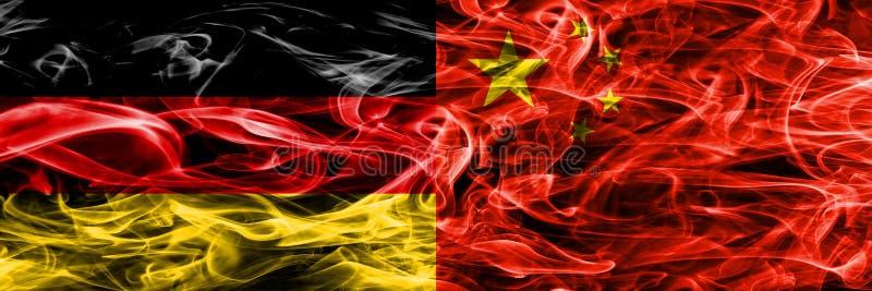 Германия против дыма Китая сигнализирует помещенную сторону - мимо - сторона Немец и хи иллюстрация штока