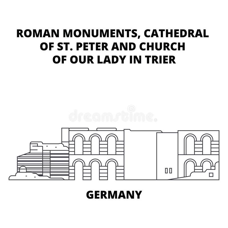 Германия, собор St Peter и церковь нашей дамы В Трир выравнивают концепцию значка Германия, собор St Peter и бесплатная иллюстрация