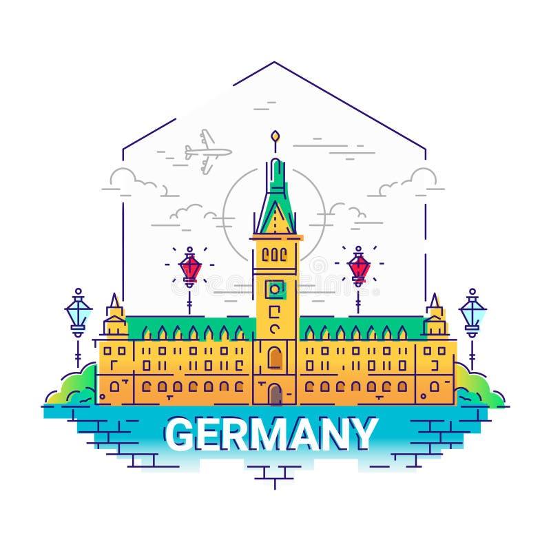 Германия - современная линия иллюстрация вектора перемещения иллюстрация штока