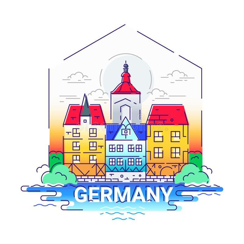 Германия - современная линия иллюстрация вектора перемещения иллюстрация вектора