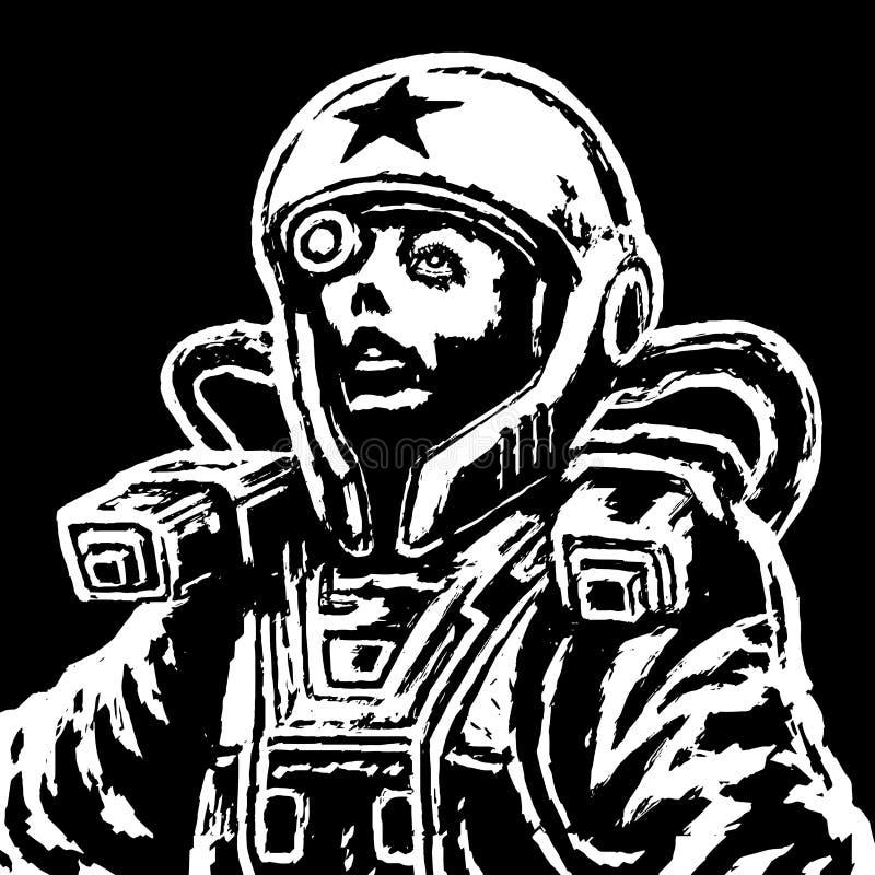 Героиня астронавта в космическом костюме также вектор иллюстрации притяжки corel бесплатная иллюстрация