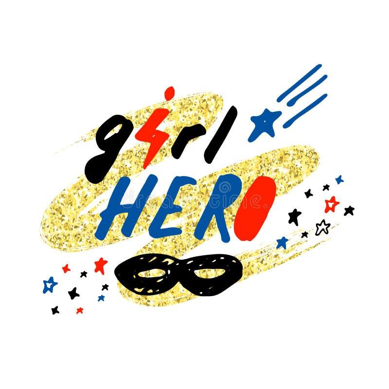 Герой девушки Вручите вычерченную литерность с маской, молнией и звездами на золотой предпосылке краски яркого блеска бесплатная иллюстрация