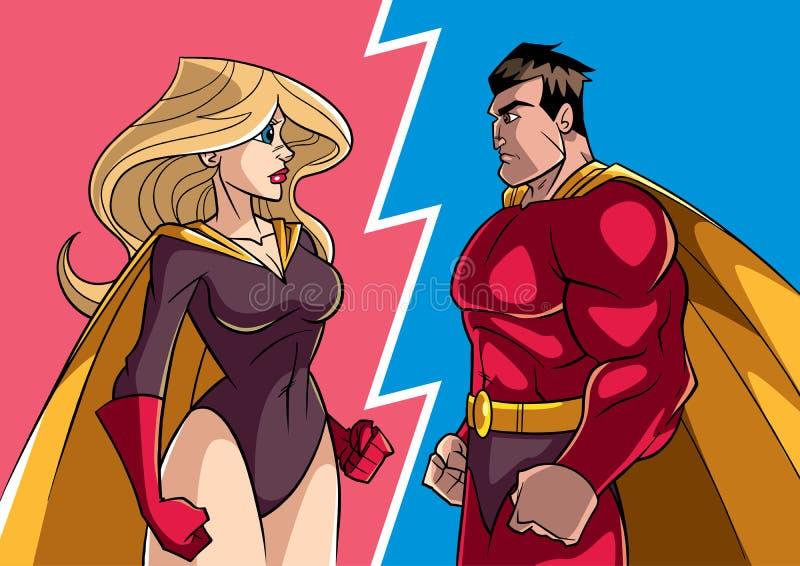 Герой против героини бесплатная иллюстрация