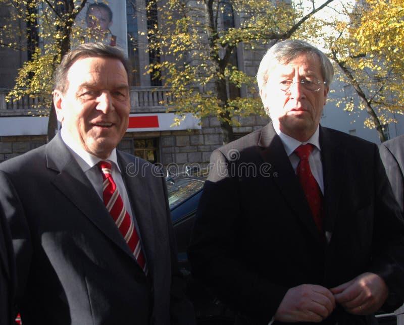 Герхард Шредер, Джин Клод Juncker стоковые фотографии rf