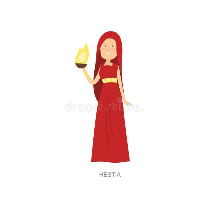 Гестия бога женщины мифологии греческая старая в красном платье бесплатная иллюстрация