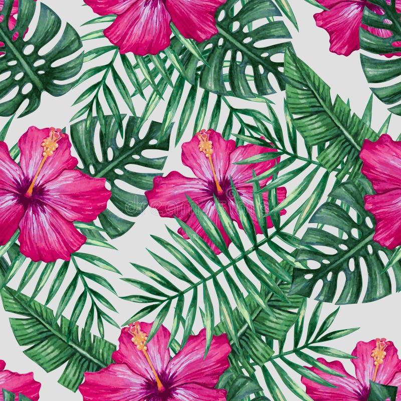 Гибискусы акварели цветут и ладонь выходит безшовная картина иллюстрация вектора